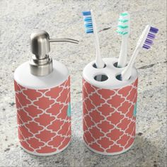 Coral Moroccan Tiles Lattice Personalized Bath Set