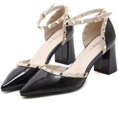 Black Studded Pointed Toe Ankle Strap Chunky Heels (46 CAD) ❤ liked on Polyvore featuring shoes, pumps, pointed toe shoes, black high heel shoes, black ankle strap pumps, black high heel pumps and chunky-heel pumps