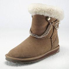 Vancl Fuzzy Chain Rivet Snow Boots Code: 20151275 - Women's Snow Boots... ($112) via Polyvore