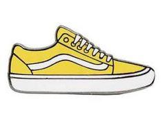 Sneakers Vans Old School Yellow Hard Enamel Pin - ≫Yellow thought's≪ - # Tumblr Stickers, Phone Stickers, Cool Stickers, Printable Stickers, Mirror Stickers, Wallpaper Stickers, Vsco, Van Drawing, Yellow Vans
