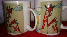 STARBUCKS 2001 COLLECTOR Safari Animal Cup Mug Coffee Tea set of 2  .
