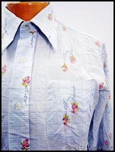 Vintage 1970s 70s Disco Fashion New Wave Romantic Pattern Shirt Large | eBay