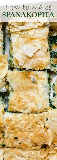 Spanakopita Recipe (Greek Spinach Pie) The Mediterranean Dish. The best tutorial for how to make spanakopita. Greek spinach pie with crispy, golden phyllo and a soft filling of spinach, feta cheese, and herbs. A holiday recipe for make it for dinner! Greek Spinach Pie, Spinach And Feta, Greek Cheese Pie, Spinach Cake, Greek Pizza Recipe Feta, Chopped Spinach, Mediterranean Diet Recipes, Mediterranean Dishes, Mediterranean Appetizers