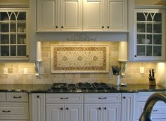One of our all time most popular designs, the Marseille Collection by StoneImpressions is a decadent, intricate floral and vine pattern to create an impressive focal point when installed with the coordinating, contrasting listello and corner combination. Kitchen Backsplash, Kitchen Cabinets, Backsplash Ideas, Red Kitchen, Kitchen Ideas, Stone Tiles, Bath Design, Diy Home Improvement, Tile Patterns