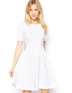 ASOS Structured Skater Dress In Heavy Rib