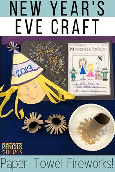 These adorable New Year's Eve resolution crafts for preschool, kindergarten, or first grade students will help your students understand what setting a resolution is all about! Your students will love using a paper towel roll to create the fireworks! #newyearseve #kindergarten #preschool #firstgrade #crafts