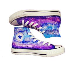 Galaxy Converse shoes Custom Converse Galaxy Converse Sneakers... (85 AUD) ❤ liked on Polyvore featuring shoes, sneakers, converse, patterned shoes, converse trainers, water proof shoes, planet shoes and converse footwear