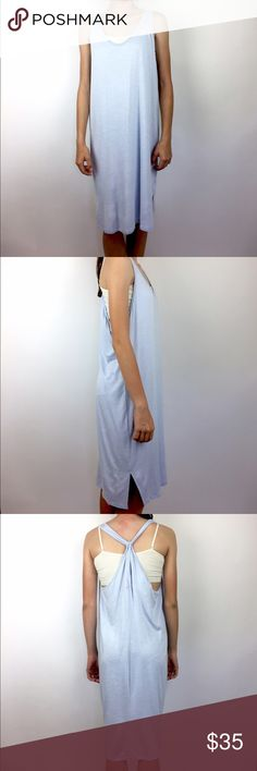 """Anthropologie Saturday Sunday Sun Dress M Light blue strappy sleeveless sun dress that doubles perfectly as a swim cover up. 90% rayon, 7% polyester, 3% spandex. Length is approx 44"""". Machine wash. A03030 Anthropologie Dresses Midi"""