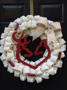 This wreath is made on an 18 wreath frame and reaches closer to 20 after completion. The center image and shotgun shells can be whatever color