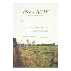 Rural barbed wire fence wedding RSVP cards