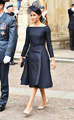 bf3a2856c5d Meghan Markle boat neckline  Wearing black Dior dress Raf Centenary
