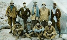 The 1924 Everest expedition team, including George Mallory, top row, second from left, and Sandy Irvine, top, far left.