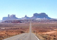 The straightest road into monument valley