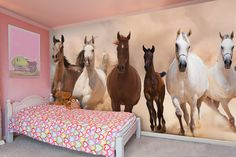 Idea for horse bedroom with wall mural
