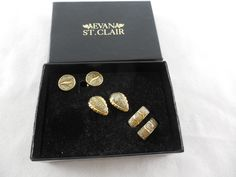 Vintage Set 3 Pairs Evan St. Clair Clear Coated Diamond Dust Clip Earrings NIB by Dockb30Crafts on Etsy