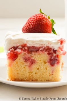 Strawberry Shortcake Poke Cake from Serena Bakes Simply From Scratch.