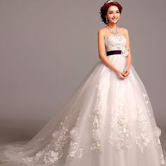 2015 White Wedding Dress Ball Gown Sequined Flower Lace Wedding Dress Wedding Dresses With Train Casamento Vestido De Noiva