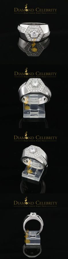 Rings 137856: 10K White Gold Finish Mens Silver Ring Size 9 With Lab Created Diamonds BUY IT NOW ONLY: $69.99