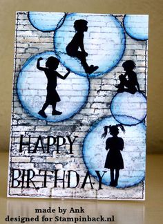 handmade card from Stampinback ... big bubbles with children's silhouettes ... grungy, artsy look with stamped brick wall in grays and white ...