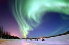Aurora Borealis, the colored lights seen in the skies around the North Pole, the Northern Lights, from Bear Lake, Alaska, Beautiful Christmas Scene, Winter Star Filled Skies, Scenic Nature by Beverly & Pack, via Flickr