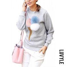 Luvyle - Luvyle Grey Fashion Round Neck Long Sleeves Pom Pom Details Sweatshirt - AdoreWe.com