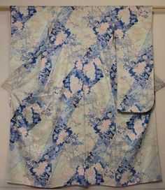 Japanese Kimono silk FURISODE Light blue, Flowers, Dyeing, 0404C4