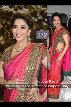 Madhuri Dixit Pink Georgette Latest Bollywood Saree
