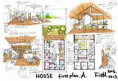 Landscape Architecture Drawing, Architecture Design, Pavilion Architecture, Japan House Design, Japanese Modern House, Architecture Presentation Board, Project Presentation, Leaflet Design, Home Building Design
