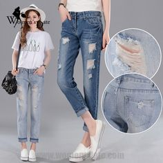 18.89$  Watch here - http://ali1so.shopchina.info/go.php?t=32717697798 - WomensDate Hot Sale Simple Women Winter Stretch Breathable Loose Plus Size Jeans Girl Hole Harem Pants Blue Cotton Jeans Pants 18.89$ #aliexpress