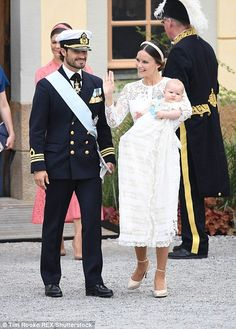 Prince Carl Philip and Princess Sofia at Drottningholm Palace Chapel in Stockholm during the christening of five month-old Swedish Prince Alexander on September 9, 2016.