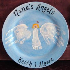 angel plate with infant footprint & toddler handprints