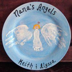 Handabdruck, Fussabdruck Engel - angel plate with infant footprint & toddler handprints