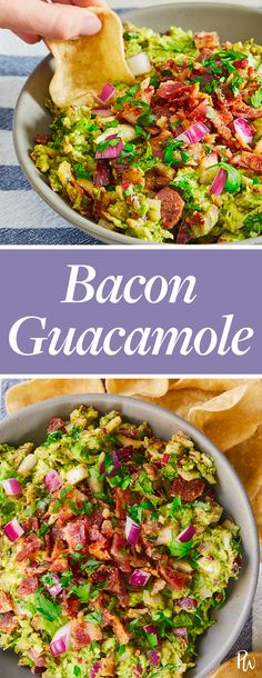 Bacon guacamole: Sounds simple enough, but don't underestimate its salty, savory and downright addictive flavor. We've been known to crush an entire bowl all on our own. RELATED: 5 Easy Guacamole…More Cold Party Appetizers, Yummy Appetizers, Appetizer Recipes, Appetizer Dips, Appetizer Party, Party Dips, Avocado Recipes, Healthy Recipes, Best Party Food