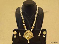 TP-324-195 || Temple designer pendant set jewellery