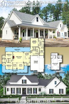Plan Three Bed Farmhouse with Optional Bonus Room : Architectural Designs Modern Farmhouse Plan being built by our client in North Carolina! The Plan, New House Plans, Dream House Plans, Four Bedroom House Plans, Ranch House Plans, Farmhouse Architecture, Architecture Design, Farmhouse Floor Plans, Farmhouse Layout