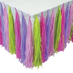 Beautify your party table with this fringe table skirt. A cute addition to your party supplies, this tissue paper table skirt features bright colors and is . Zombie Birthday Parties, Zombie Party, 5th Birthday, Birthday Ideas, Tassle Garland, Tassels, Lego Friends Party, Arabian Party, Lego Themed Party