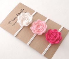 Diadema de flores de fieltro elegir 3 colores por SuperAdorable
