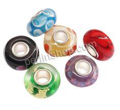 Lampwork Perlen European Stil, Rondell, handgemacht, einadriges Kabel Messing ohne troll, keine, 14x7mm, Bohrung:ca. 4mm, 100Stücke/Pack, ve...