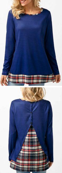 Patchwork Round Neck Navy Blue T Shirt.