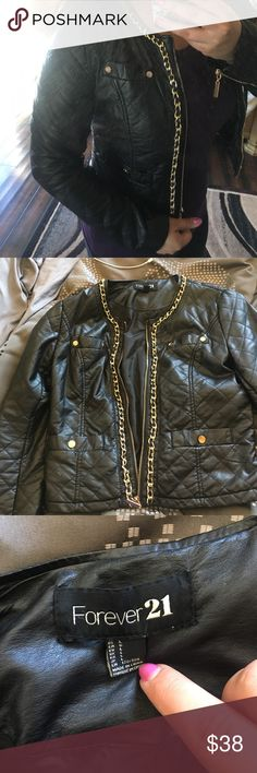 Chain Faux Leather jacket 100% Viscose lining. Chain with 4 front pockets and functional zippers Forever 21 Jackets & Coats