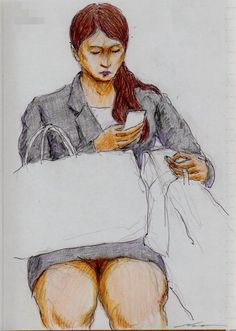 黒いスーツのお姉さん(通勤電車でスケッチ)This is a woman of sketch wearing a black suit. It drew in a commuter train.