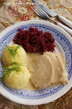 ***Pork Loin in Horseradish Cream Sauce***schab w sosie smietanowo -chrzanowym Fruit Recipes, Pork Recipes, Kitchen Recipes, Cooking Recipes, Good Food, Yummy Food, Exotic Food, Pork Dishes, Food To Make