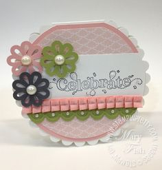 scalloped circle card  http://www.stampinpretty.com