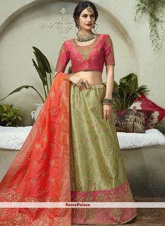 Jacquard Silk Embroidered Lehenga Choli in Green