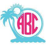 Beach Theme Monogram Decal Yeti monogram by LJvinyldesigns on Etsy