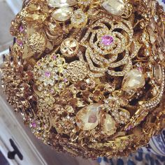 "4 Likes, 1 Comments - @kellyebennett on Instagram: ""Wow! Another breathtaking all Brooch Bouquet! Gold with accents of pink....simply gorgeous Message…"""