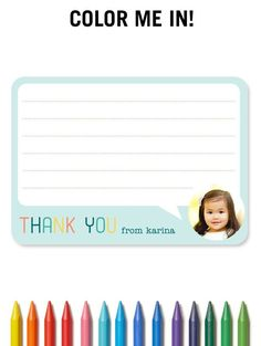 These fun designs are a new way for children to write thank you notes. They have outlined imagery to be colored in and blanks for personal notes, encouraging kids to be imaginative and to use their developing coloring and writing skills.