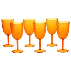 Certified International Orange 16-ounce All-purpose Goblet (Set of 6) -- Awesome products selected by Anna Churchill