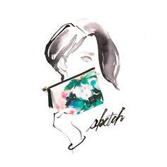 水彩シャクナゲスケッチ柄ポーチ/watercolor,illustration,flower,textile