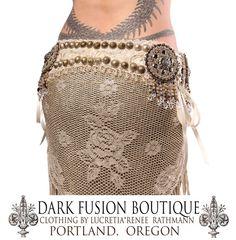 Belt, Cream, Vintage, Zipper, Antique, Turkoman, Kuchi, Off White, Fringe, Pendants, Beads, Brass, Silver, Tribal Fusion Bellydance